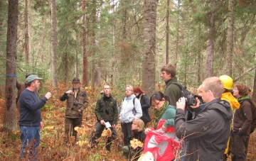 Students consider the implications of managing for old growth forests on carbon sequestration.